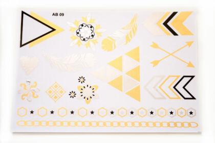 """Arany-ezüst-fekete """"henna"""" tetováló matrica AB09"""
